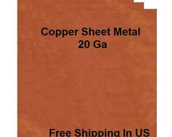 20 Ga Solid Copper Sheet Metal Assorted Sizes Available / Made In USA