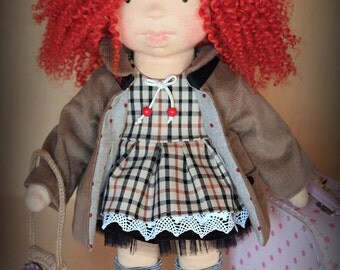 "Waldorf inspired 16"" doll Poppy-Mae plus her outfits and felted bunny rabbit toy,cloth doll,soft doll,stuffed doll,Waldorf doll"