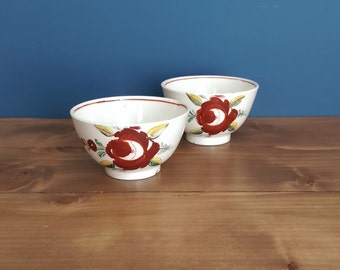 Pair of Antique Georgian Floral Creamware Tea Bowls c1790