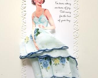 BRIDE Hanky Paper Doll Wedding Something Blue Gift