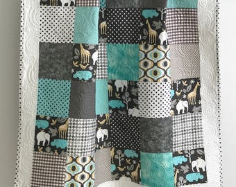 Modern Baby Boy Quilt featuring Zoology by Michael Miller Teal Grey Yellow and Ivory