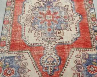 Vintage Oushak Rug / 4 by 7 / Muted / Pastel / Copper-Blue / Boho / Low-Pile / Distressed Rug - 84 in x 50 in