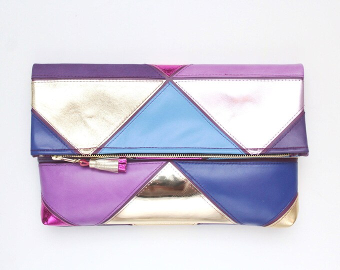 Natural leather metallic bag-leather purse-geometric leather bag-oversized clutch-large clutch-purple gold blue pink-Ready to Ship /PRISM 21