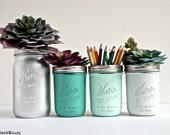 Pencil Holder / Office Decor / Dorm Decor / Rustic Home / Mason Jars / Mint / Vase / Centerpiece / Set of 4