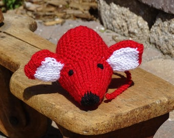 Mouse, Stuffed Mouse, Stuffed Animal, Red Toy, Hand Knitted Mouse, READY TO SHIP, Toy Under 20 Dollars, Plush Mouse, Knitted Baby Toy, Mice