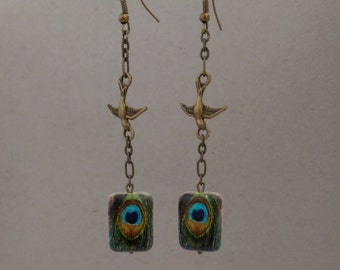 Whimsical Bird and Peacock Dangle Earring. Distressed Gold Chain. Great Gift for Mom, a Teen, Wife, Girlfriend, Christmas. Nickel free. BP
