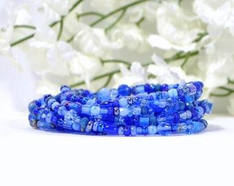 Wrap Bracelet, Long Beaded Wrap, Blue Layering Bracelet, Stretch Bracelet, Layer Jewelry