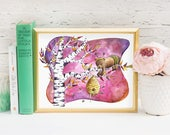 Baby Bear Nursery Art Print  - Watercolor Animal Nursery Art Collection - Pink and Purple Nursery Decor - Bumble Bee Gift - Bee Costume Art