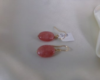 Rhodochrosite gold filled earrings gemstone handmade MLMR item 760b