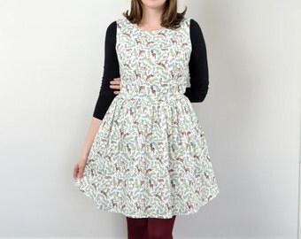 White & Green Deer + Evergreen Print Dress / Dashing Dress
