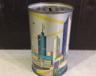 Small 1934 Tin Bank, Art Deco Buildings Architecture, Chicago World Fair, 1930s, Zeppelin, American Can Co