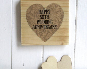 Golden Wedding Anniversary Keepsake, Hand Painted and Printed, Decorative Heart Artwork on Natural Pine Woodblock, 50th Wedding Anniversary
