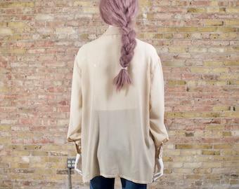 JIL SANDER silk blouse / oversized silk top / silk tunic / sheer button up / cream silk top / sheer silk blouse / 90s minimalist