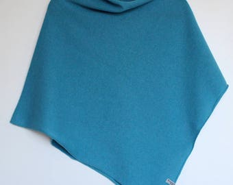 Soft Merino Lambswool Poncho Aqua Blue