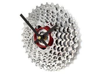 Mountain Bike Gift, Mountain Biker, Mountain Bike Clock, Cycling Gift, Bike Gear Clock, Bike Clock, Tread and Pedals, Recycled Bike Clock