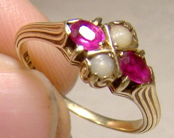 14K Victorian Man Made Rubies and Pearls Neoclassic Ring 1900 14 K Size 5-1/2