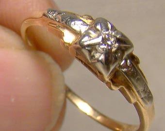 1930s Retro 14K Diamond Ring - Size 6-3/4