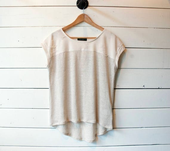 EL DORADO - minimalist ripped top, t-shirt, tee-shirt for women - cream white and taupe grey