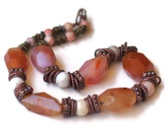 Short Rustic Semi Precious Statement Necklace, Burnt Orange Carnelian Agate Choker, Big Bold Chunky Natural Stone Beads, Unique ALFAdesigns
