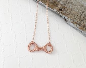 Handcuff Necklace, Rose Gold Handcuffs, Gold Handcuff Necklace, Sterling Silver Handcuff Necklace, Best Friend Necklace, Pink Handcuffs