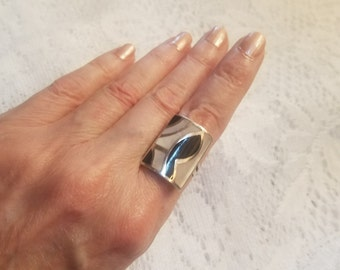 925 Ring Signed MOP & Onyx Art Deco Retro Statement Size 8.5 Large Chunky Womens Jewelry