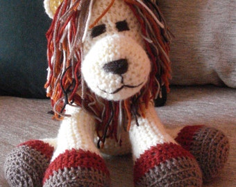 "Crocheted lion stuffed animal doll  toy ""Leonardo"""