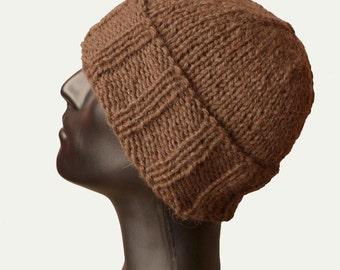 Mens Knit Hat - Ribbed Hat - Beanie Hat - Mens Winter Hat - Brown Knit Hat - Cuffed Beanie - Mens Warm Winter Hat - Skull Beanie