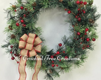 Christmas Wreath, Winter Wreath, Holiday Wreath, Pine Wreath, Woodland Wreath, Green Wreath, Holiday Door Decor, Wispy Wreath, Woodland