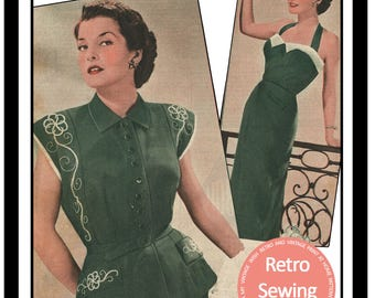 1950s Halter Dress & Bolero Vintage Sewing Pattern - Paper Sewing Pattern - Rockabilly - Pin Up