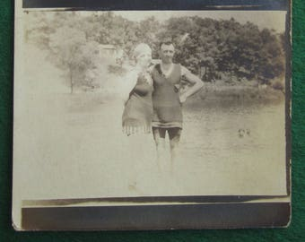 Sweet 1910's Bathing Suit Couple Shares On The Beach Real Photo Postcard - Free Shipping