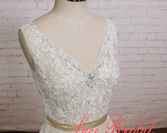 Custom Wedding Dress with See Thru Deep V Cut Open Back Tulle Lace wedding dress with Champagne Underlay