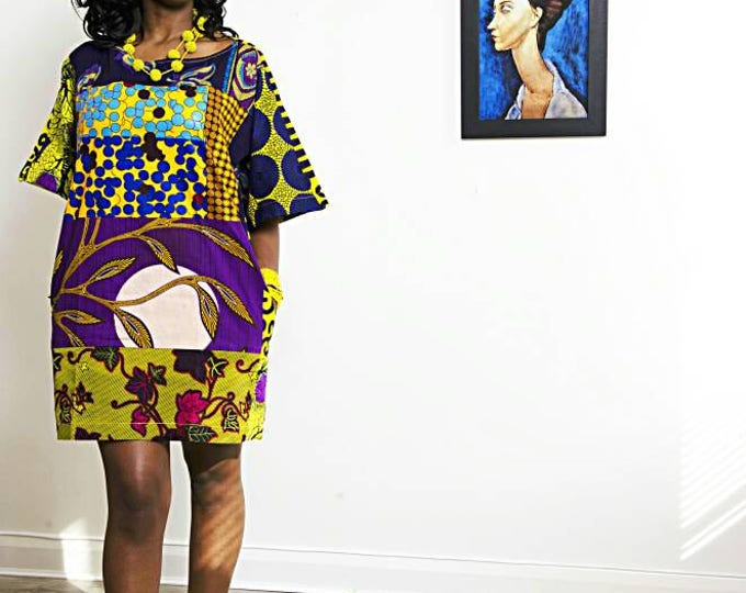 Featured listing image: Carla Purple Mix African Print oversized Tunic Dress
