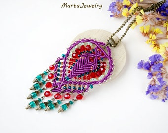 Macrame necklace, micro-macrame jewelry, beaded, bohemian, boho chic, free spirit, beadwork, fringes, purple red teal, unique gift for her