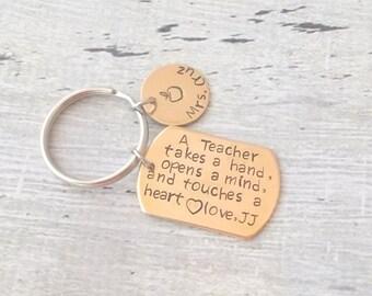 Custom Teacher Gift, Personalized Teacher Gift, Personalized Teacher Keychain, Nanny Gift, Day Care Gift, Teacher Gift Idea, Teacher Gift