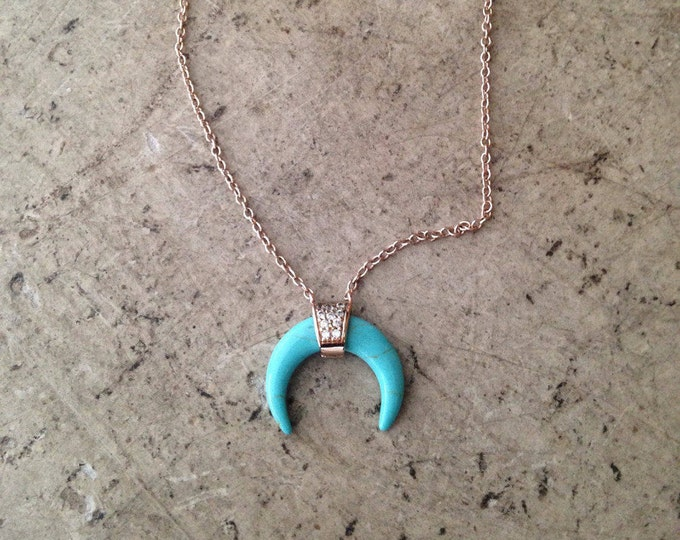 Necklace double Horn pave cubic zirconia / Crescent Moon