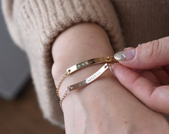 Personalized Bar Bracelet,Bridesmaid gift,Friendship Bracelet,Gold Bar Bracelet,Roman numerals bracelet,Coordinates bracelet,Custom bracelet