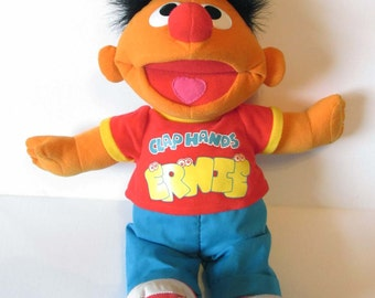 Clap Hands Ernie Tyco Plush Stuffed Toy Sesame Street Toy Late 1990s - 17 Inches