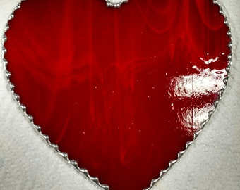 Large Hand Made Stained Glass Heart Suncatcher- approximately
