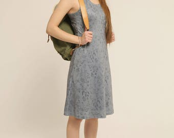 Women's dress - Jersey dress - Above the knee - Sleeveless - A line dress - Constellation Dark grey and Herbiers -20%