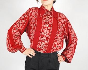 40's Style Rayon Blouse -40's Red Snowflake Blouse - Size L/XL