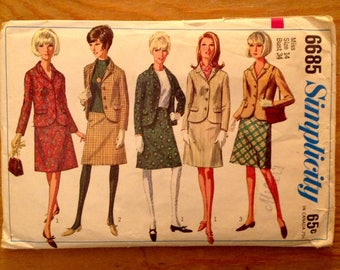 1966 women suit Simplicity 6685, miss size 14 bust 34, skirt & jacket separates, vintage sewing pattern supply, Simplicity How to Sew series