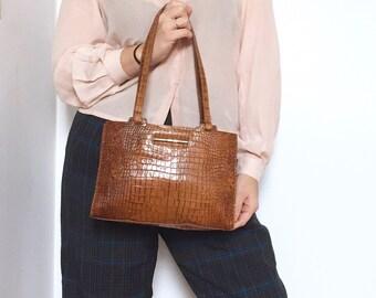 Vintage 90s Cole Haan Brown Cognac Leather Alligator Embossed Baguette Handbag