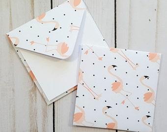 Flamingo Mini Envelopes, Flamingo Cards, Blank Cards, Patterned Envelopes, Summer Cards, Small Stationery, Enclosure Cards, Set of 4