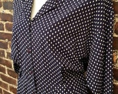40s 50s Style Dress. Plus Size Vintage 80s Pin Up Navy Blue Polka Dot Rockabilly Dress. Collared Button Up Down. Size Extra Large.