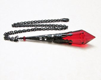 Deep Red Glass Prism and Black Brass Pendulum Necklace