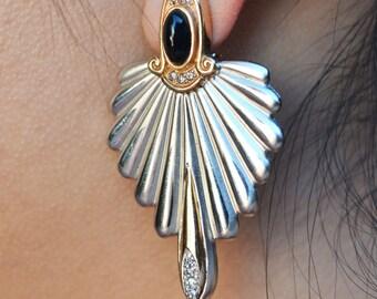 Erté Onyx Silver and Gold Earrings - Erte Earrings - Diamond 1920s Earrings - Vintage Diamond Earrings With Onyx - Vintage Art Deco Earrings