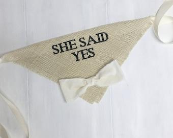 Custom Bow Tie Color Ivory Wedding Dog Bandana She Said Yes Engagement Announcement Save the Date Cards Photos Boy Bowtie Bandana