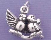 LOVE BIRDS Charm .925 Sterling Silver Lovebirds Pendant - lp2801