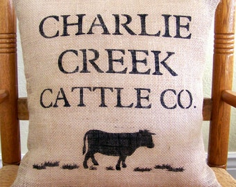 Cow pillow, Farmhouse decor, Farmhouse pillow,  custom name, Personalized pillow, Burlap Pillow, Beef cow, Free shipping!