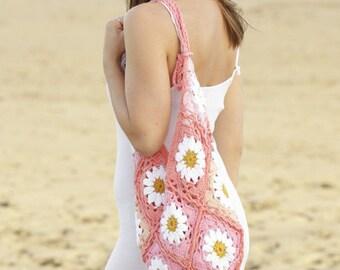 Crochet shopping bag, hand made bag, cotton bag, crochet summer bag, pink cotton bag.